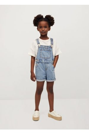 MANGO Girls Jeans - Short denim dungarees