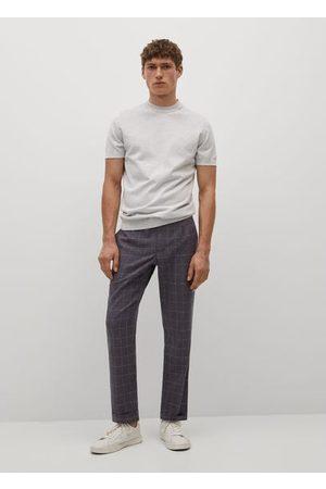 MANGO Slim-fit check linen trousers