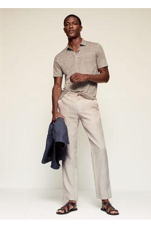 MANGO Slim fit 100% linen polo shirt