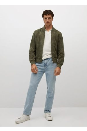 MANGO Men Leather Jackets - Bomber-style suede jacket