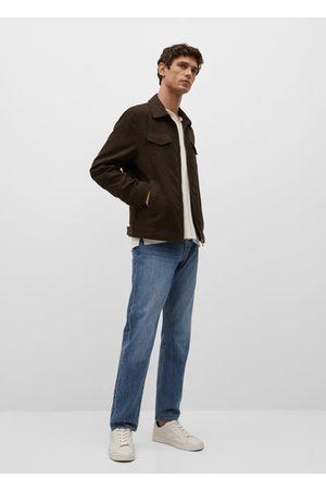 MANGO Men Leather Jackets - Suede effect jacket