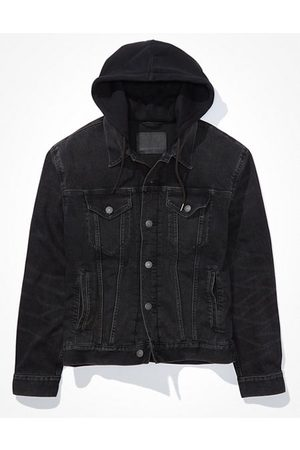 American Eagle Outfitters Hooded Wash Denim Jacket Men's XS