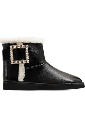 Roger Vivier 10mm Winter Viv Leather & Shearling Boot
