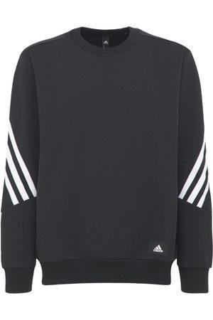 adidas 3 Stripes Cotton Blend Crew Sweatshirt