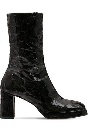 Miista 80mm Carlota Croc Embossed Leather Boots