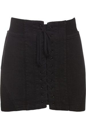 Serafini Lace-up Cotton Mini Skirt
