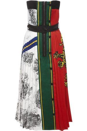 Serafini Strapless Gabardine Printed Midi Dress