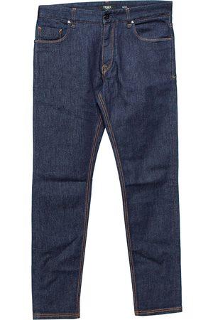 Fendi Navy Denim Camo Pocket Detail Tapered Jeans XS