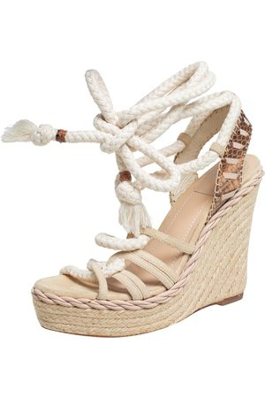 Dior Suede And Python Rope Espadrille Wedge Ankle Wrap Sandals Size 39