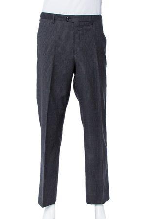 Giorgio Armani Charcoal Grey Striped Wool Straight leg Pants 3XL