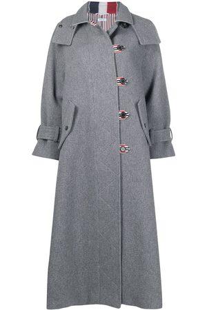 Thom Browne RWB-stripe long duffle coat - Grey