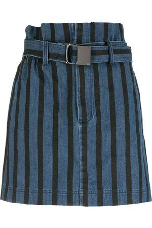 Andrea Bogosian Belted stripe denim skirt