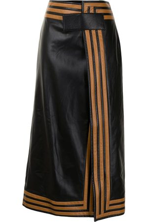 Proenza Schouler Women Leather Skirts - Pieced leather wrap skirt