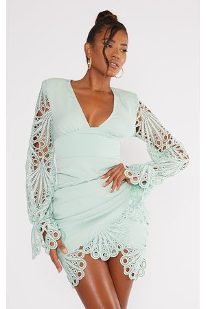 PRETTYLITTLETHING Sage Lace Detail Plunge Long Sleeve Bodycon Dress