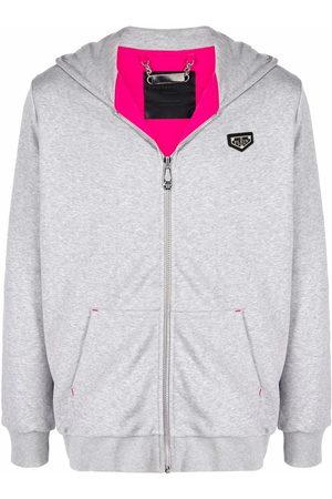 Philipp Plein Men Hoodies - Logo-patch zip-up hoodie - Grey
