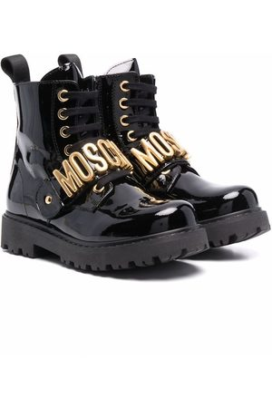 Moschino Logo-strap patent lace-up boots