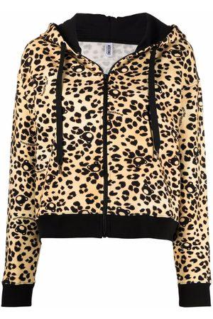 Moschino Women Hoodies - Teddy Leo zipped hoodie - Neutrals
