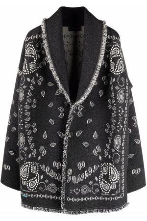 Alanui Men Cardigans - Bandana-pattern shawl-lapel cardigan - Grey