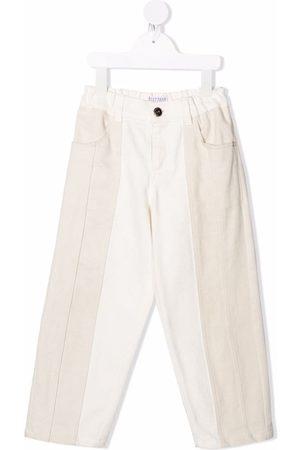 Brunello Cucinelli Kids Two-tone straight trousers - Neutrals
