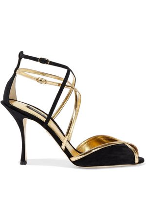 Dolce & Gabbana Woman Metallic Leather-trimmed Suede Sandals Size 38.5