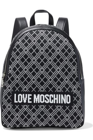LOVE MOSCHINO Woman Jacquard-paneled Faux Leather Backpack Size