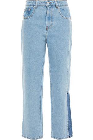 McQ Woman Genesis Ii Two-tone High-rise Straight-leg Jeans Light Denim Size 25