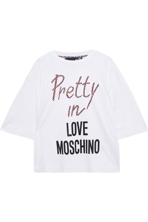 Love Moschino Woman Embellished Printed Cotton-jersey T-shirt Size 38