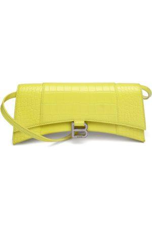 Balenciaga Women Purses - Hourglass Sling Croc-embossed Leather Shoulder Bag - Womens
