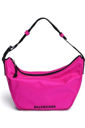 Balenciaga Women Purses - Wheel Sling Logo-embroidered Shell Shoulder Bag - Womens - Fuchsia
