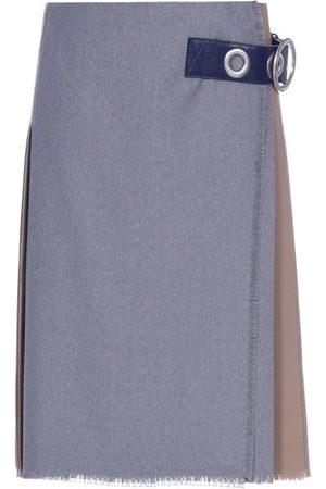 Marni Asymmetric Pleated Wool-hopsack Skirt - Womens - Multi
