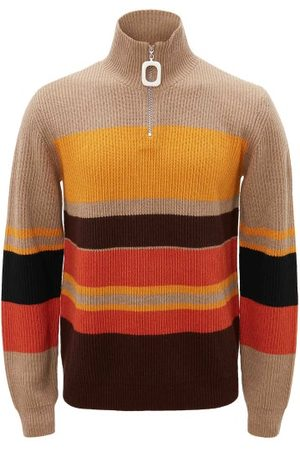 JW Anderson High-neck Striped Ribbed-knit Sweater - Mens