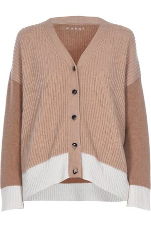 Marni Contrasting Ribbed Cashmere Cardigan - Womens - Camel