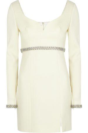 GIUSEPPE DI MORABITO Ivory chain-embellished wool mini dress