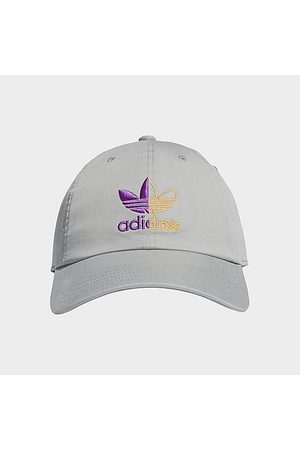 Adidas Hats - Originals Relaxed Split Trefoil Strap-Back Hat in Grey/Light Grey Cotton/Polyester
