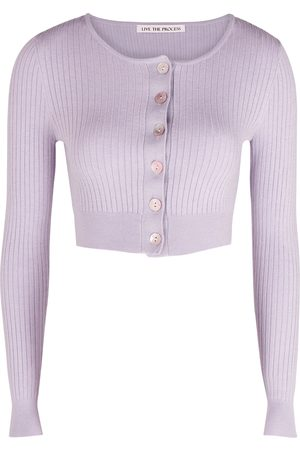 LIVE THE PROCESS Deco lilac cropped ribbed-knit cardigan