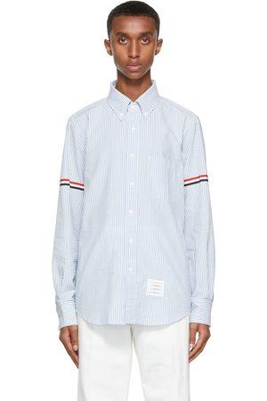 Thom Browne White & Blue Seersucker Grosgrain Armband Shirt