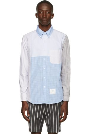 Thom Browne Blue & Grey Patchwork Hairline Check Shirt