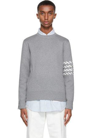Thom Browne Men Sweatshirts - Grey Milano 4-Bar Stripe Crewneck Sweater