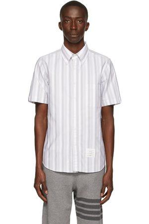 Thom Browne Men Short sleeves - White & Grey Oxford Shadow Stripe Short Sleeve Shirt
