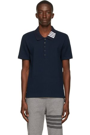 Thom Browne Navy Ribbed Polo