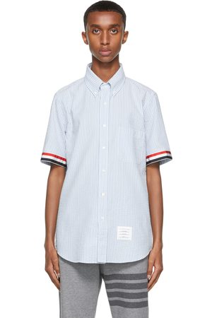 Thom Browne White & Blue Seersucker Grosgrain Cuff Short Sleeve Shirt