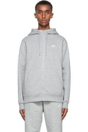 Nike Men Sports Hoodies - Grey Sportswear Club Full-Zip Hoodie