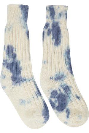 The Elder Statesman Off-White & Blue Hot Yosemite Tie-Dye Socks