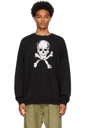 R13 Men Sweatshirts - Black Oversized Skull Sweater