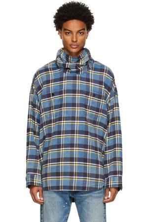 R13 Men Casual - Blue Plaid Maskup Work Shirt