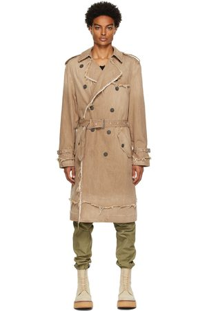 R13 Tan Denim Shredded Trench Coat