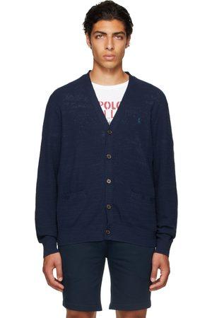 Polo Ralph Lauren Men Cardigans - Navy Cotton & Linen V-Neck Cardigan