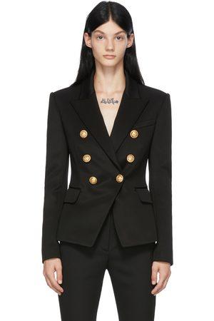 Balmain Women Blazers - Black Jersey Six-Button Blazer