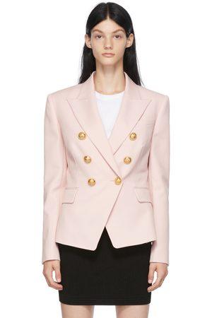 Balmain Pink Grain De Poudre Six-Button Blazer