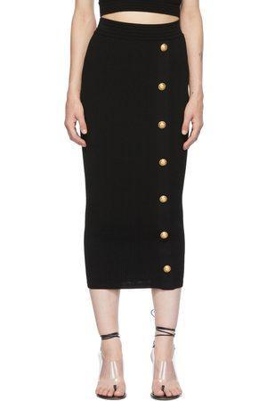 Balmain Black Rib Knit Button Mid-Length Skirt